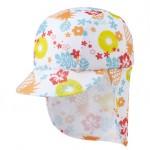 首の後ろに日よけのついた子ども用のプール帽子(スイミングキャップ)